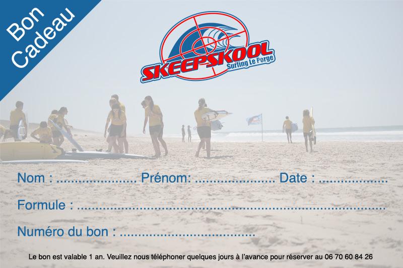 Bon cadeau pour un cours de surf Skeepskool